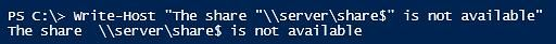 double quotes escape powershell