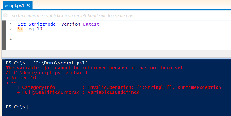 powershell set strictmode latest version