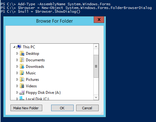 Powershell Tip #15: Use a BrowseFolder dialog for user input