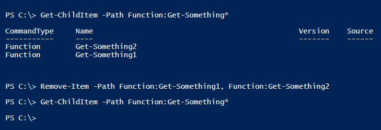 Functions in powershell