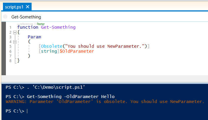 powershell obsolete parameters
