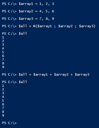 concatenate-arrays-two-ways-powershell