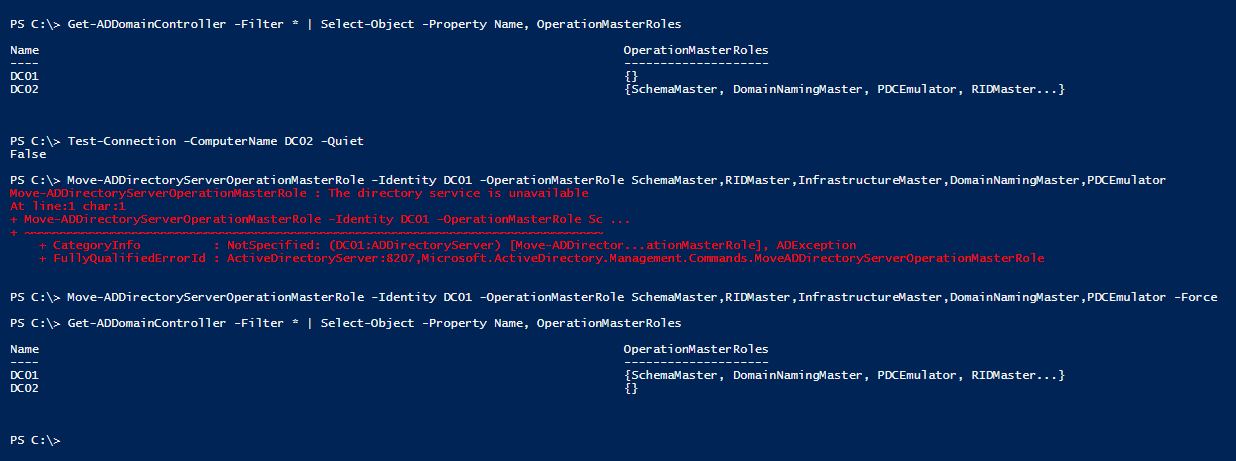 seize-fsmo-roles-with-powershell-without-force-parame