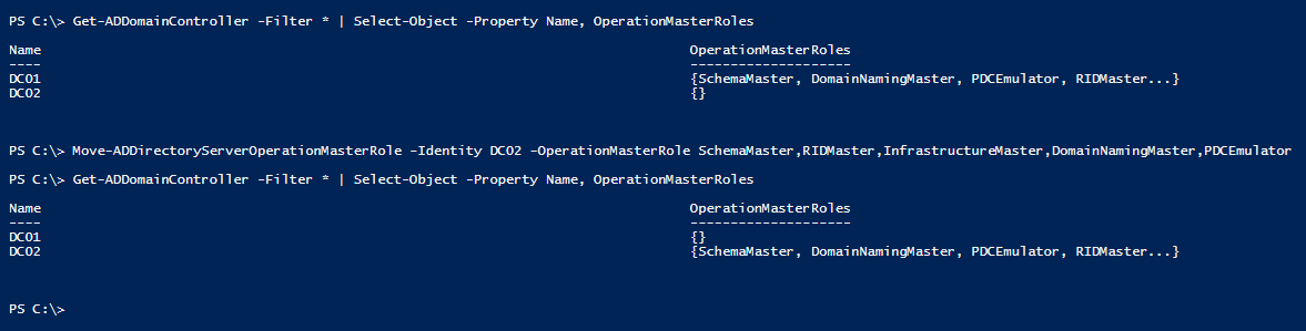 transfer-fsmo-roles-with-powershell