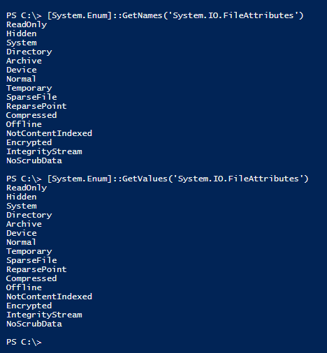 powershell-enum-getvalues-getnames-object-fileattributes