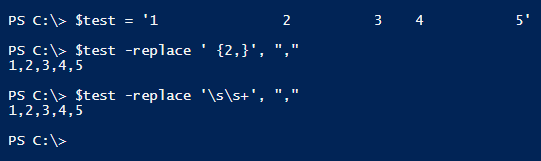 powershell replace multiples spaces by one comma solutions