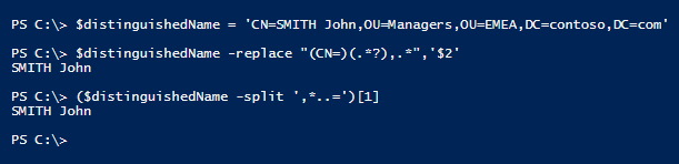 extract-the-cn-from-dn-powershell