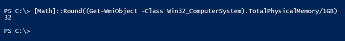 get-total-ram-installed-powershell